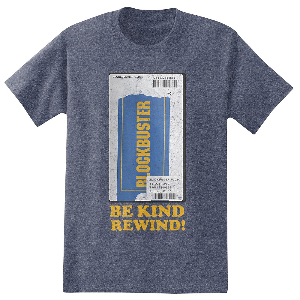 Men's Blockbuster Be Kind Rewind T-Shirt - Navy Xxl, Blue