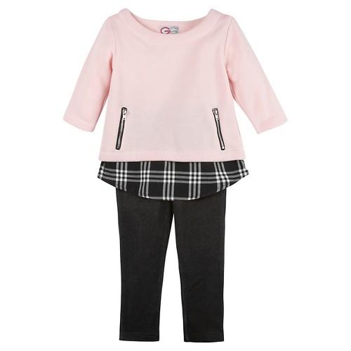 G-Cutee Girls' 2 Piece Tunic & Legging Set 8 - Pastel Pink, Girl's, Black Pink