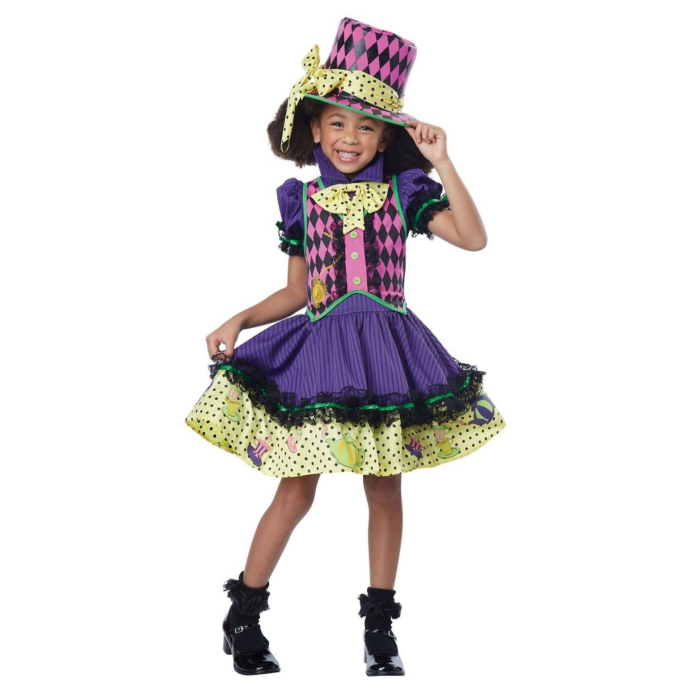 Girls Mad Hatter Child Costume S(4-6), Multicolored