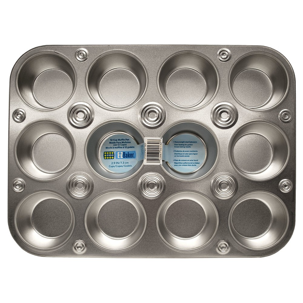 EZ Baker 12 Cup Muffin/Cupcake Pan - Gray, Tin