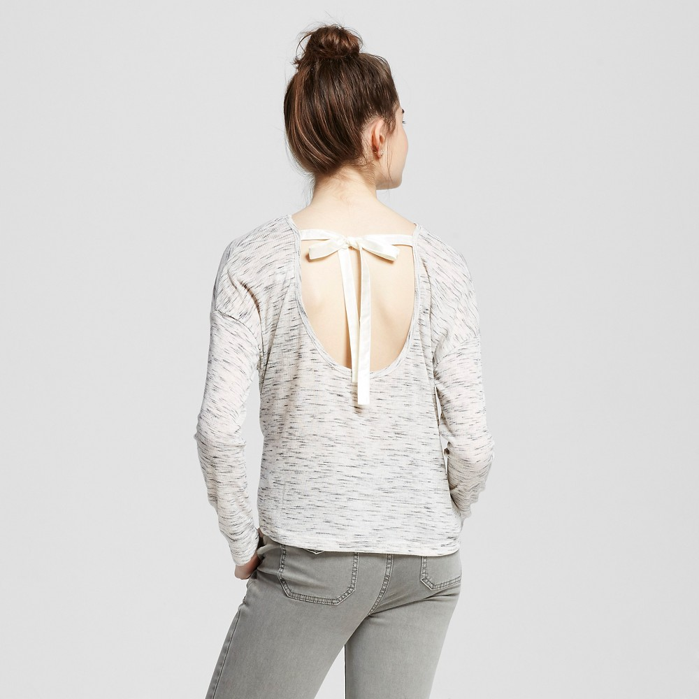 Women's Bow Tie Back Long Sleeve Sweatshirt Stardust M – Miss Chievous(Juniors'), Multicolored