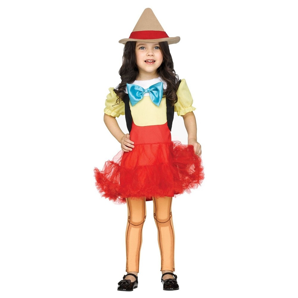 Pinocchio Girl Doll Toddler Costume 2T, Multicolored
