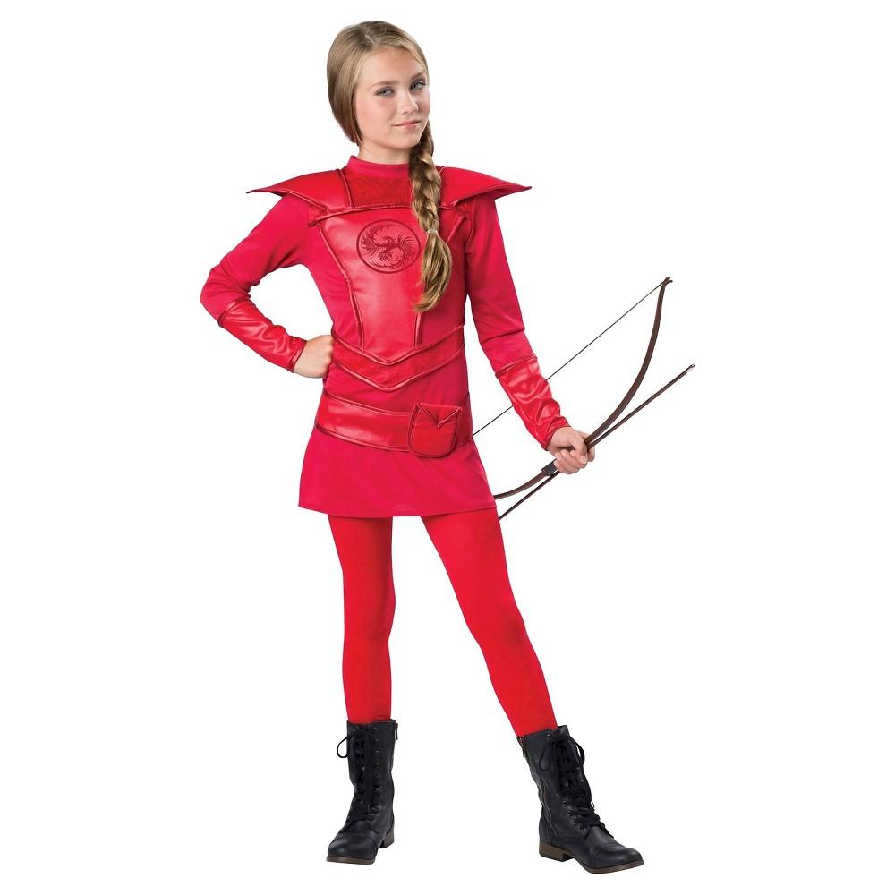 Girls Red Warrior Huntress Child Costume S(4-6), Multicolored