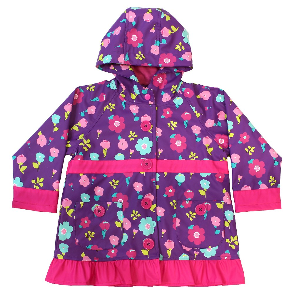 Western Chief Toddler Girls Lovely Floral Rain Coats - Purple 4T
