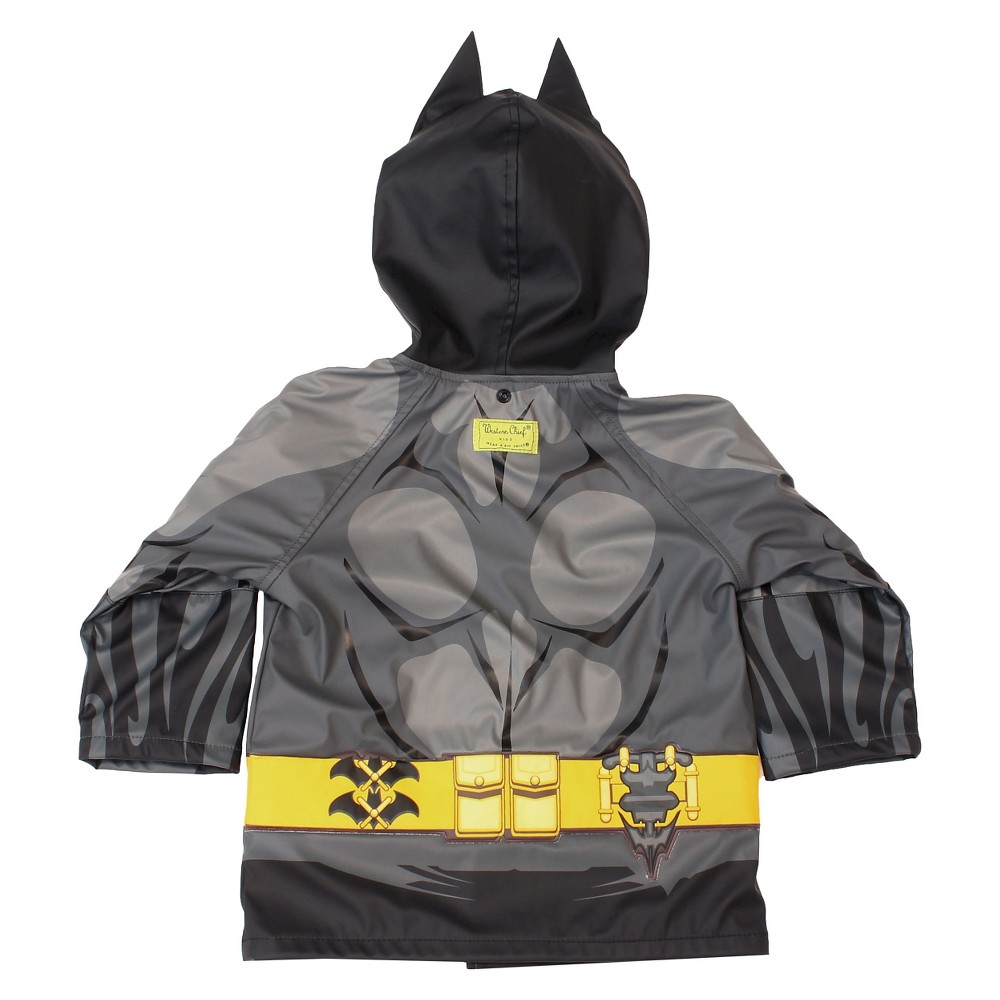 Batman Toddler Boys' Rain Coats - Black 3T Find Jackets and Vests at Target.com! • Polyester and cotton construction add warmth and durability • Water-resistant design keeps him dry • Attached hood keeps head and ears dry Your little hero will look forward to rainy days with this Toddler Boy Batman Rain Coat in Black - License-Batman. The attached hood adds coverage, while the fun character details bring an authentic touch. Size: 3T. Gender: Male. Pattern: Superheroes. Material: Polyurethane.
