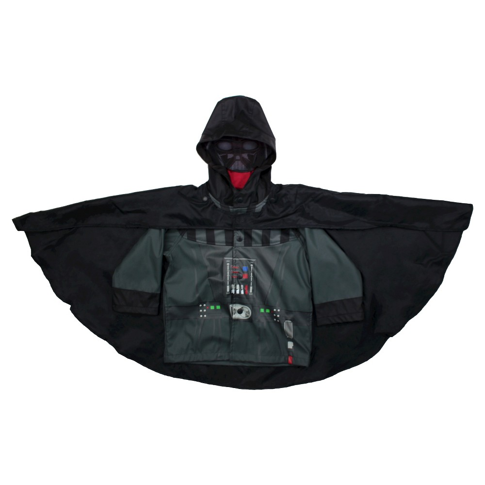 Star Wars Toddler Boys' Darth Vader Rain Coats - Charcoal 4T, Gray Find Jackets and Vests at Target.com! • Polyurethane, polyester, and cotton construction add warmth and durability • Water-resistant design keeps him dry • Character details add an authentic touch • Hood and mask keep head and ears dry The force is strong in this Toddler Boy Star Wars Darth Vader Rain Coat in Charcoal – License by Star Wars. The face mask adds coverage, while the attached cape adds a fun character detail. Size: 4T. Color: Gray. Gender: Male. Pattern: Fictitious character.