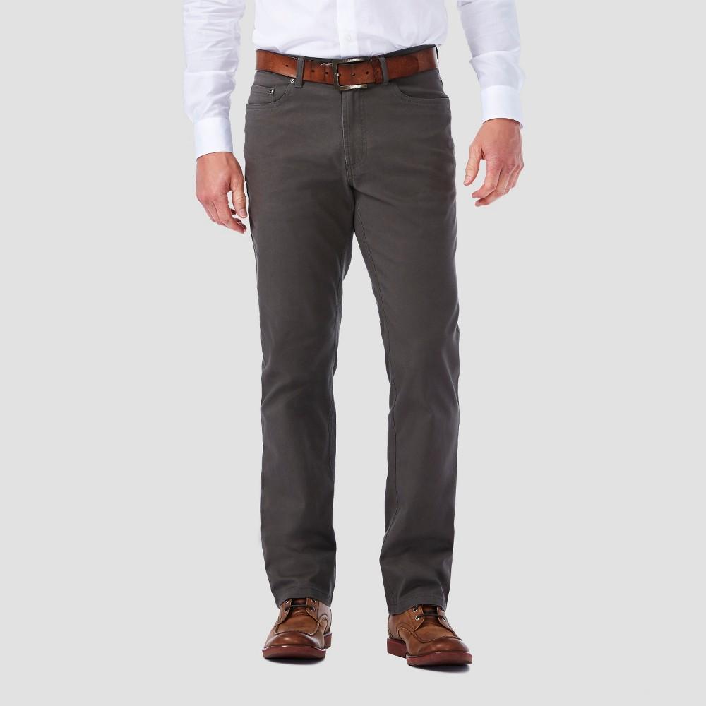 Haggar H26 - Mens 5 Pocket Stretch Twill Pants Medium Gray 28x30, Mid Gray
