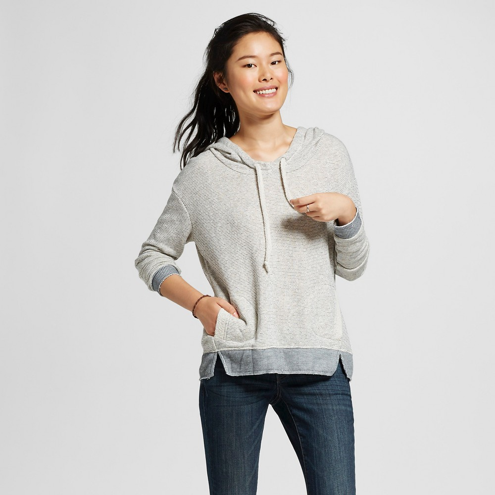 Women's Double Pocket Stripe Sweatshirt Hoodie Loofah-Gray Pebble/Dark Ash M - Miss Chievous(Juniors'), Multicolored