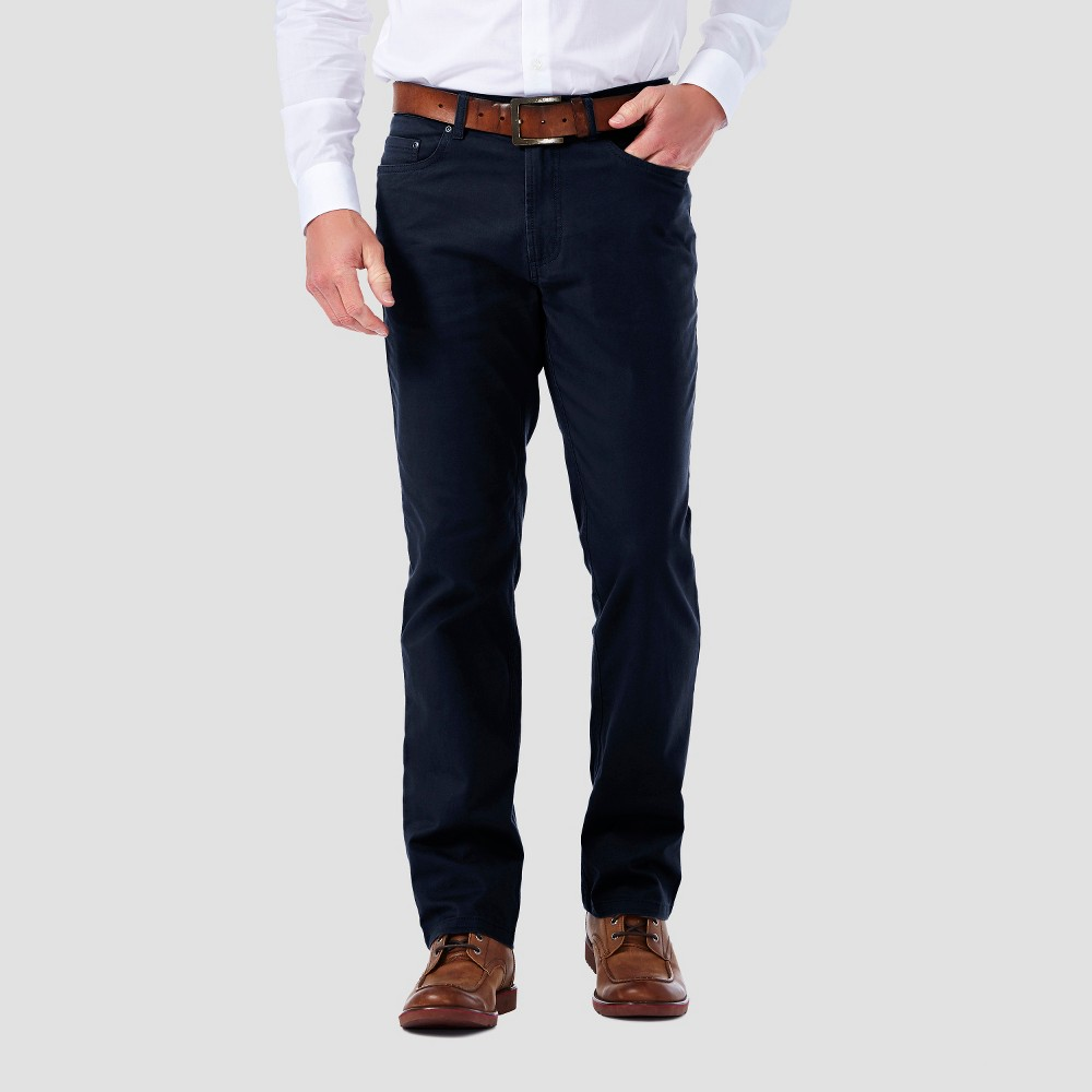 Haggar H26 - Mens 5 Pocket Stretch Twill Pants Navy (Blue) 29x30