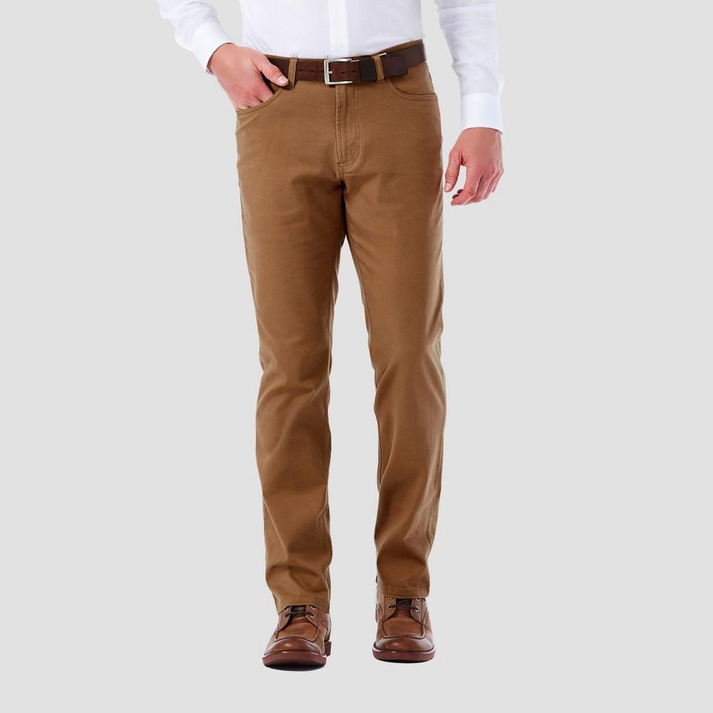 Haggar H26 – Men's 5 Pocket Stretch Twill Pants Camel 32×32