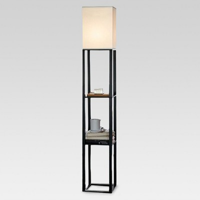 shelf floor lamp with shade includes cfl bulb threshold