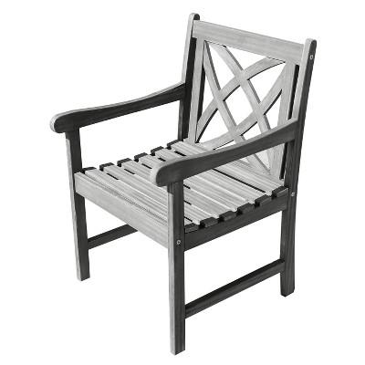 Vifah Renaissance Eco Friendly Outdoor Hand Scraped Hardwood Garden Arm  Chair