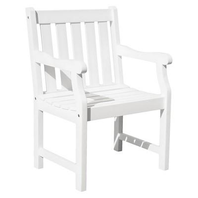 Vifah Bradley Eco Friendly Outdoor White Wood Garden Arm Chair