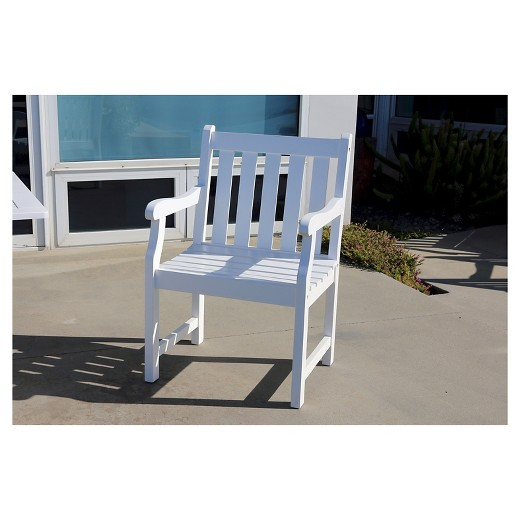 Vifah Bradley Eco friendly Outdoor White Wood Garden Arm Chair. Vifah Bradley Eco friendly Outdoor White Wood Garden Arm Chair