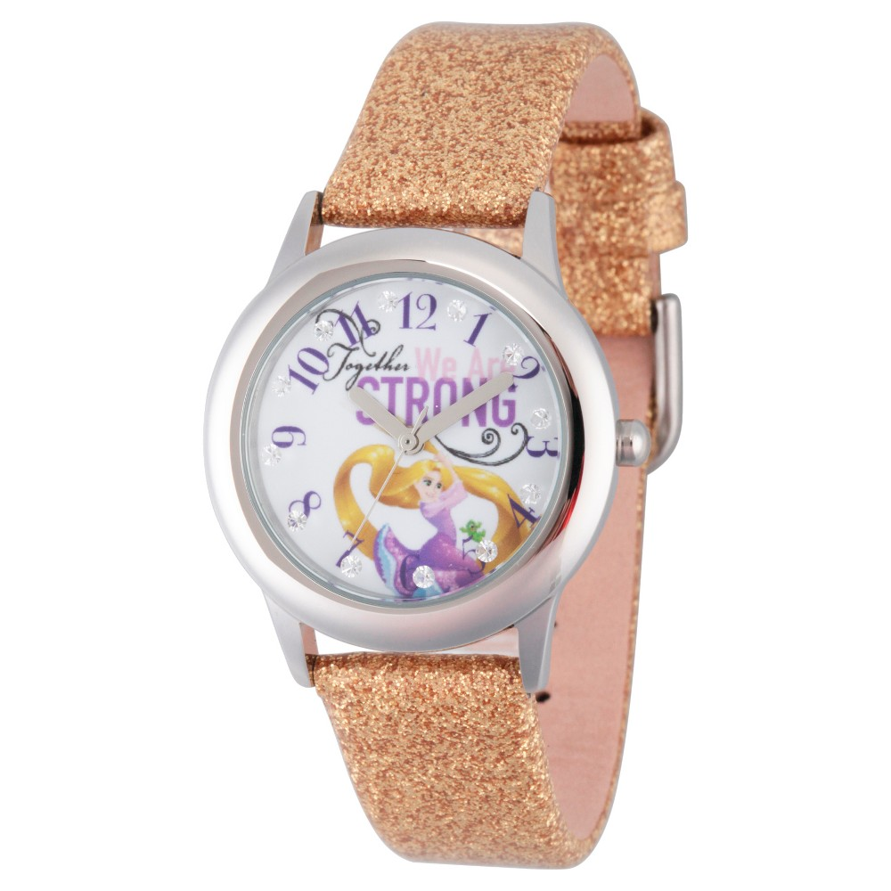 Girls' Disney Princess Rapunzel Stainless Steel Glitz Watch - Gold