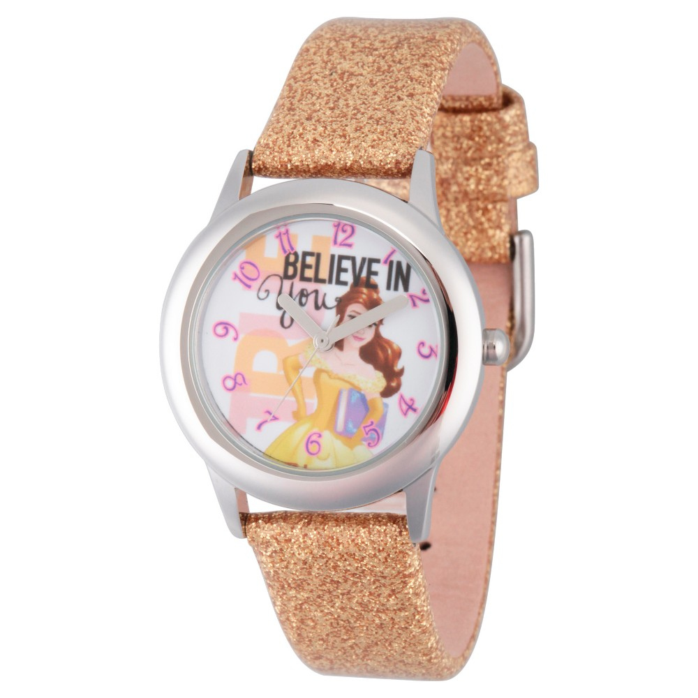 Girls Disney Beauty and Beast Belle Stainless Steel Watch - Gold