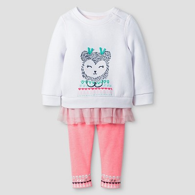 Baby Girls' 2-Piece Bear and Fuzzy Legging Set Cat & Jack™ - White/Coral 0-3 M