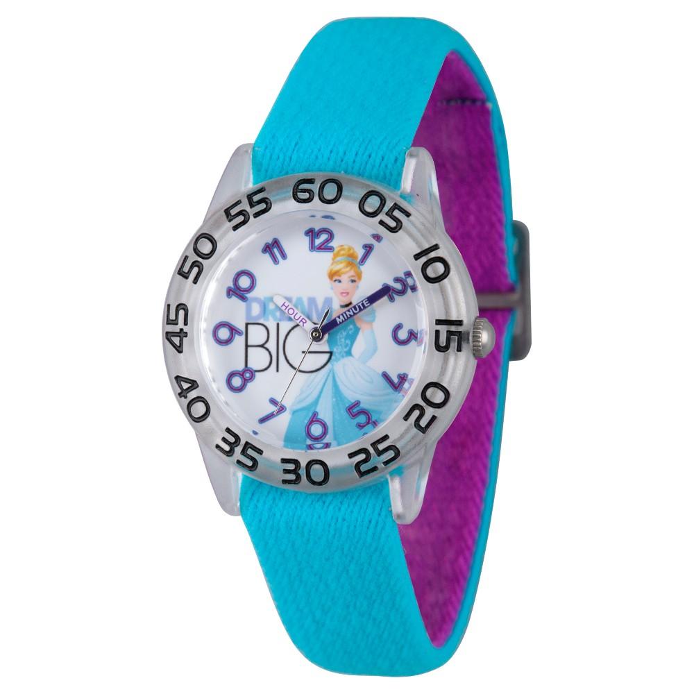 Girls Disney Princess Cinderella Clear Plastic Time Teacher Watch - Blue