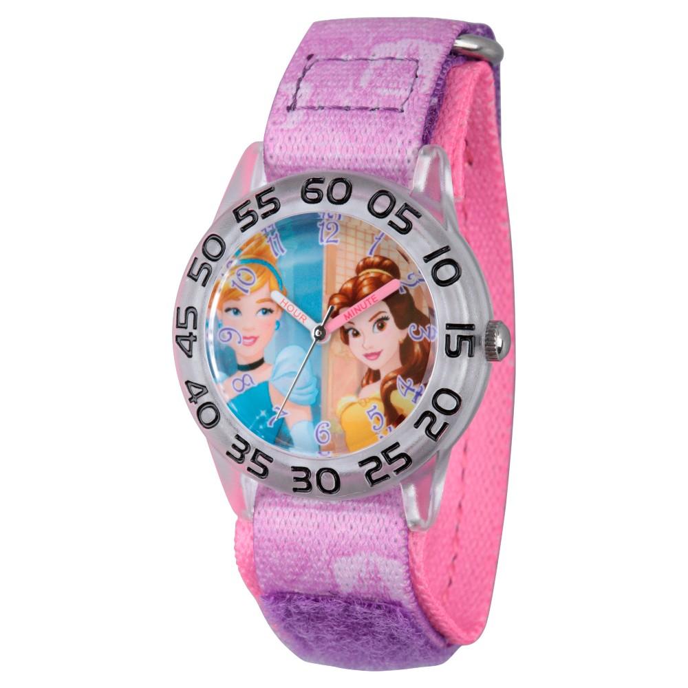Girls Disney Princess Cinderella and Belle Clear Plastic Time Teacher Watch - Purple