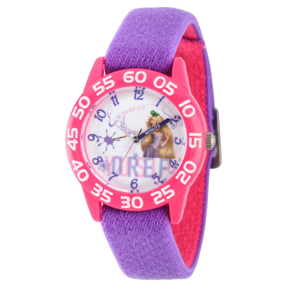 Girls' Disney Princess Rapunzel Pink Plastic Time Teacher Watch - Purple
