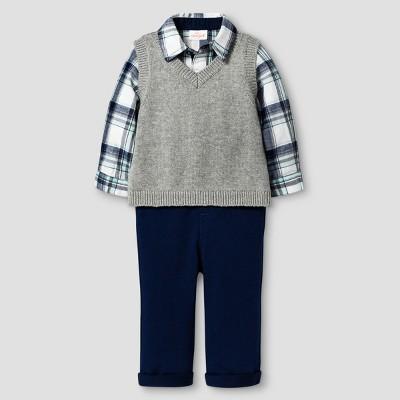 Baby Boys' 3 Piece Vest, Pant and Bodysuit Set Baby Cat & Jack™ - Grey/Plaid/Night Blue 0-3 M