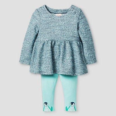 Baby Girls' 2-Piece Texture Tunic with Fuzzy Legging Set Cat & Jack™ - Aqua 0-3 M