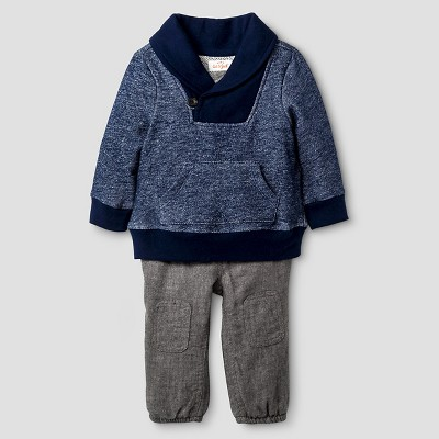 Baby Boys' Shawl Collar and Woven Jogger Set Baby Cat & Jack™ - Night Blue/Grey 3-6 M