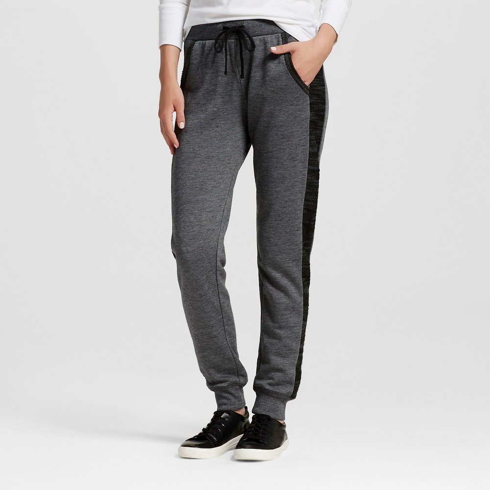 Women's French Terry Jogger Pants Slate Black L - Miss Chievous (Juniors')