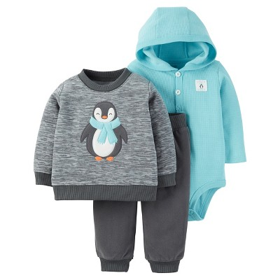 Just One You™ Made by Carter's® Baby Boys' 3pc Penguin Sweatshirt Set - Grey/Turquoise 9M