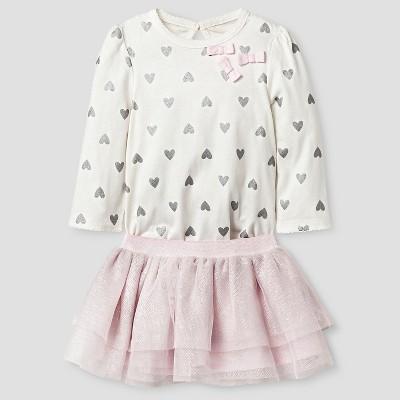 Baby Girls' Heart Print Bodysuit and Tutu Set Baby Cat & Jack™ - Pink NB