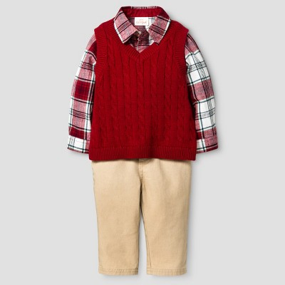 Baby Boys' 3 Piece Vest, Pant and Bodysuit Set Baby Cat & Jack™ - Red/Plaid/Khaki NB