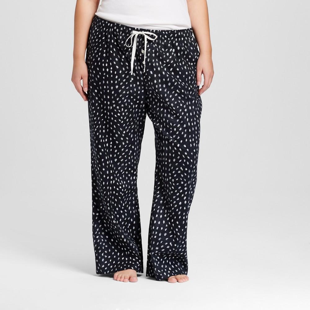 Womens Plus Size Woven Flannel Pants - Gray Animal Print 3X