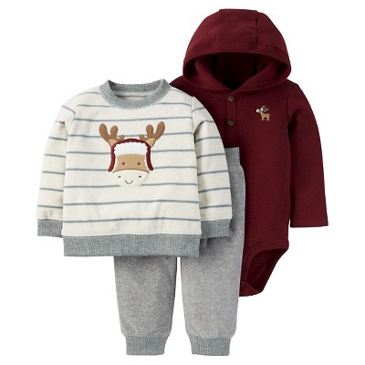 Just One You™ Made by Carter's® Baby Boys' 3pc Striped Moose Sweatshirt Set - Grey/Cream/Burgundy 18M