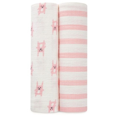 Aden® by Aden + Anais® Flannel Swaddle - 2pk - Funny Bunny - Pink Stripes