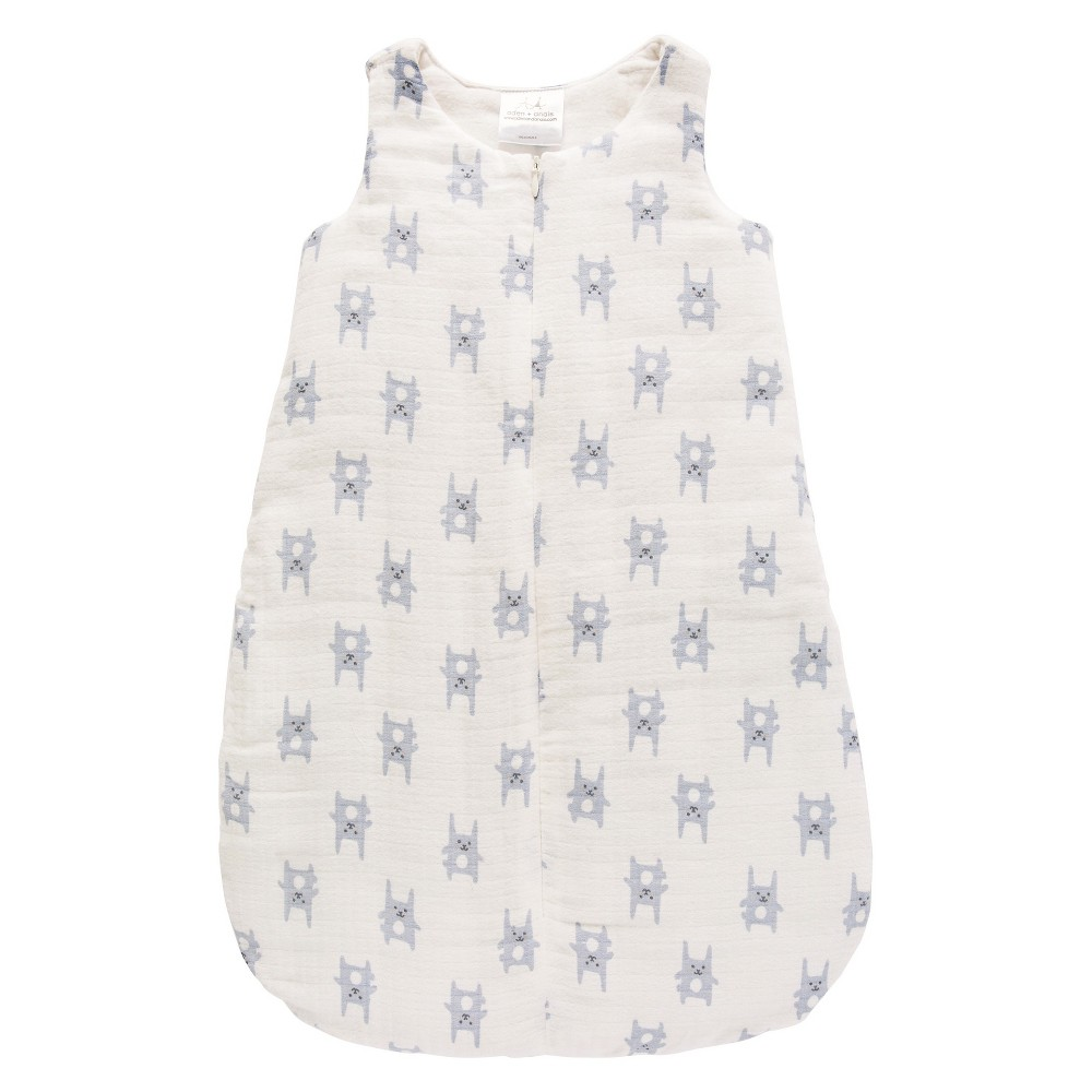 Aden by Aden + Anais Flannel Sleeping Bag - Funny Bunny - Blue - S, Newborn Boys