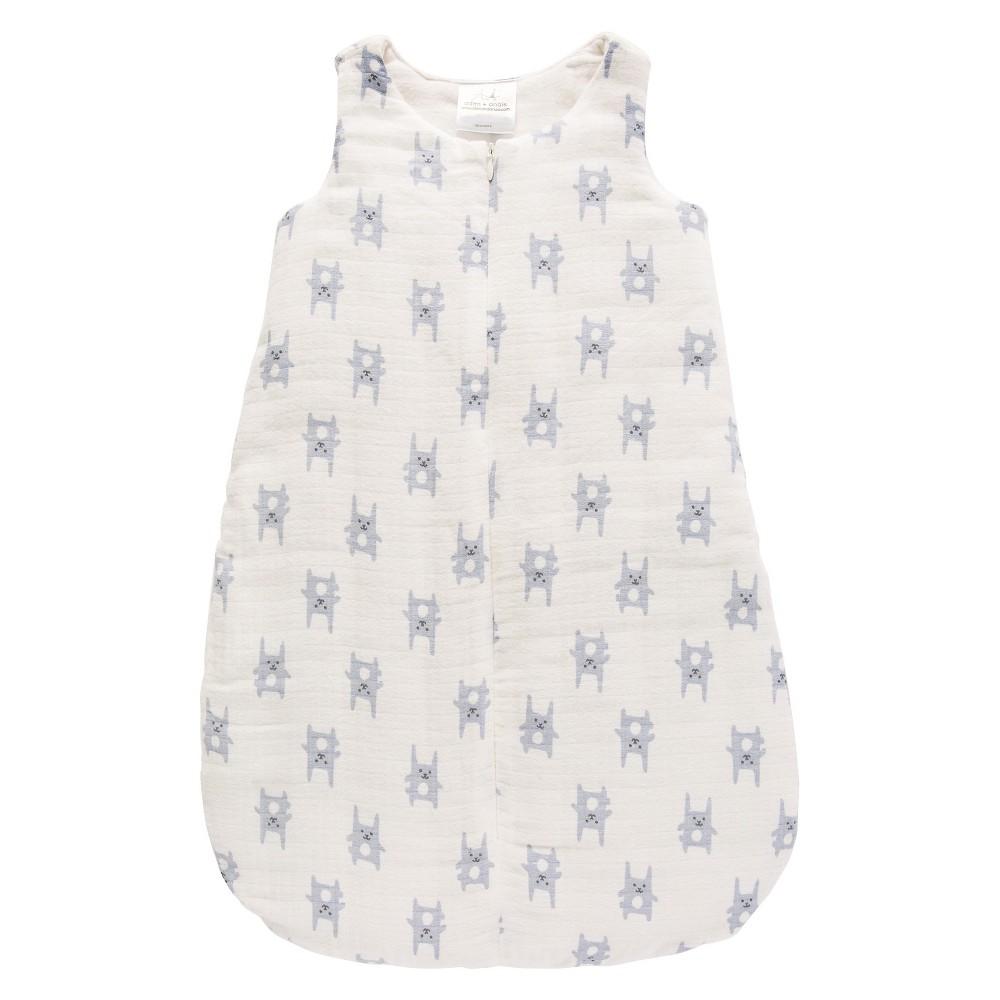 Aden by Aden + Anais Flannel Sleeping Bag - Funny Bunny - Blue - M, Newborn Boys