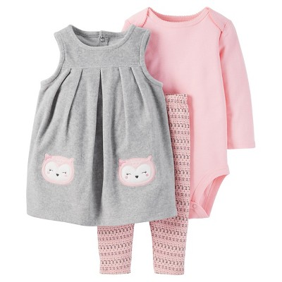 Just One You™ Made by Carter's® Baby Girls' 3pc Owl Jumper Set - Grey/Pink 6M