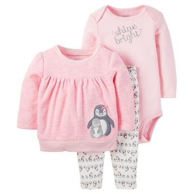 Just One You™ Made by Carter's® Baby Girls' 3pc Penguin Shine Bright Set - Pink/Silver Glitter 9M
