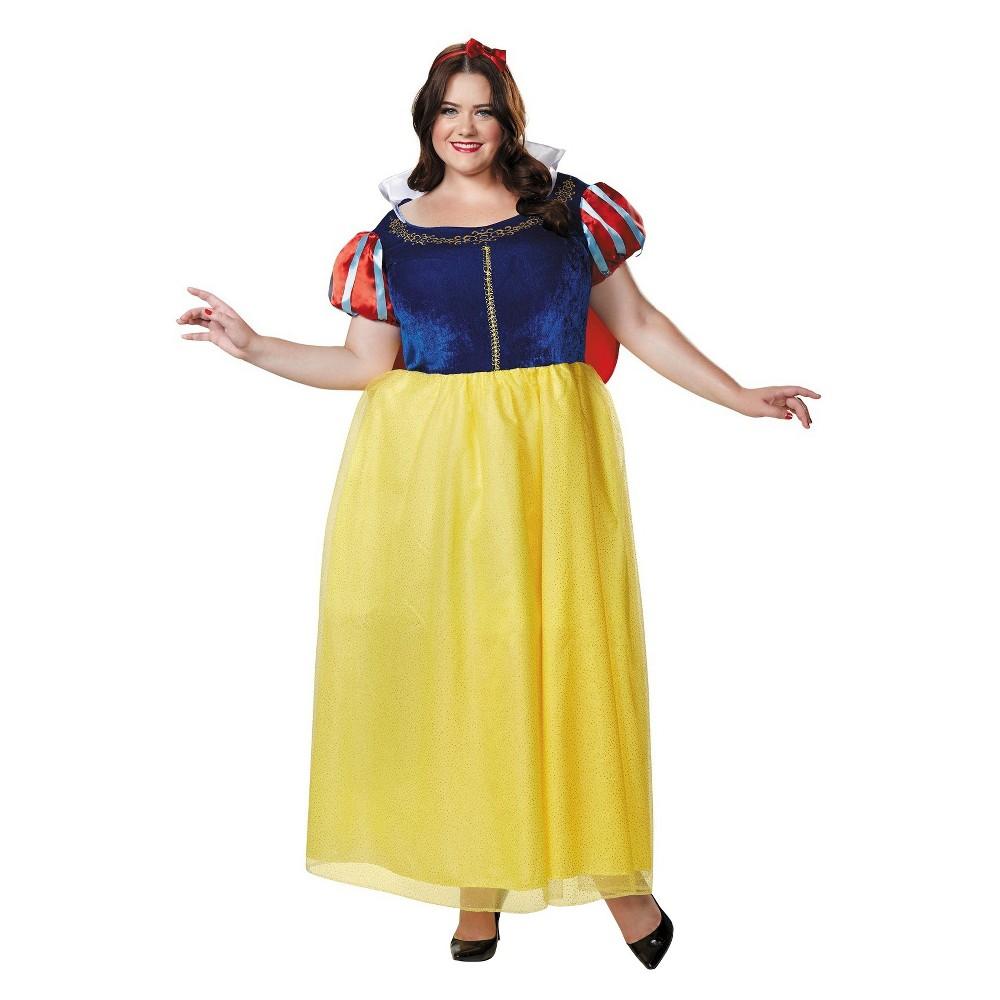 Women's Snow White Deluxe Plus Size Costume - 1X,  Size:   Blue plus size,  plus size fashion plus size appare