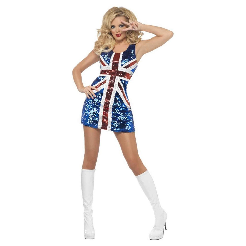 Womens All That Glitters Rule Britannia Union Jack Costume - Small, Red