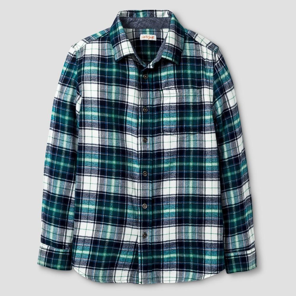 Boys Long Sleeve Button Down Flannel Shirt - Cat & Jack Green M Husky