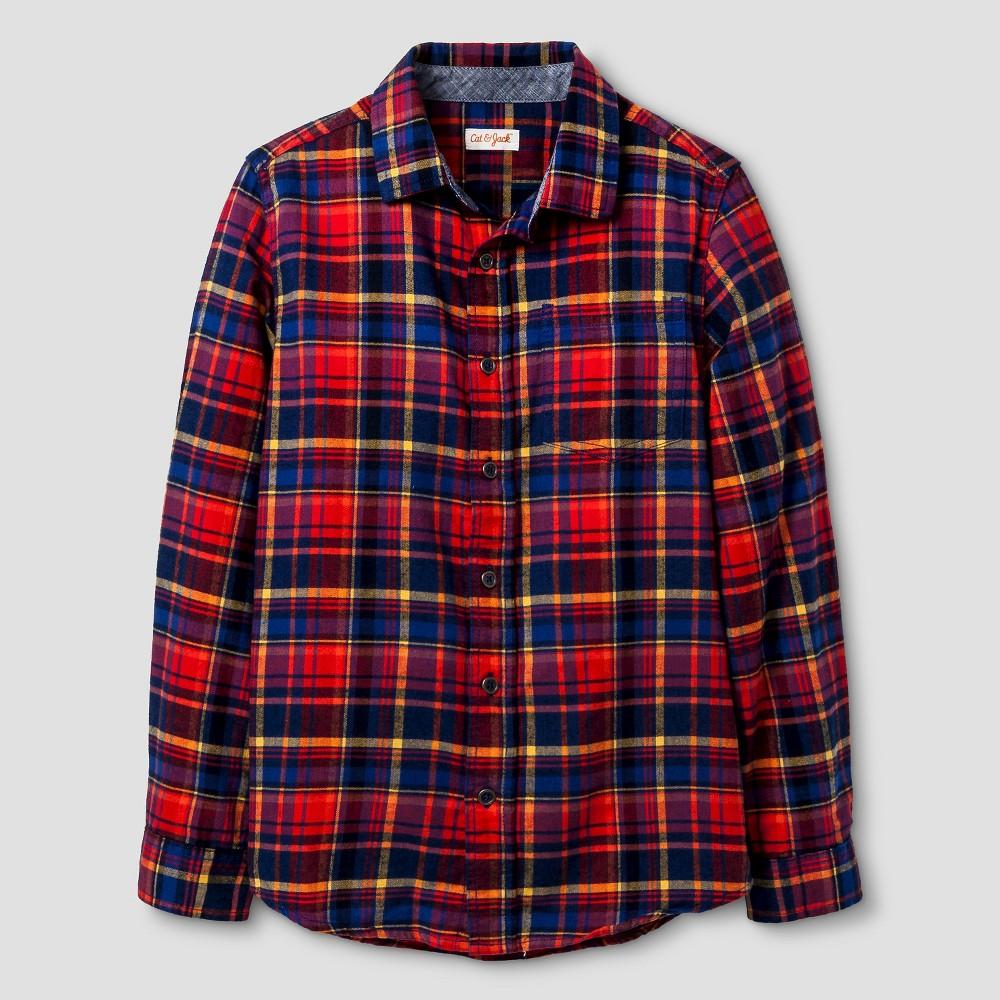 Boys Long Sleeve Button Down Flannel Shirt - Cat & Jack Red Husky XL, Size: XL Husky