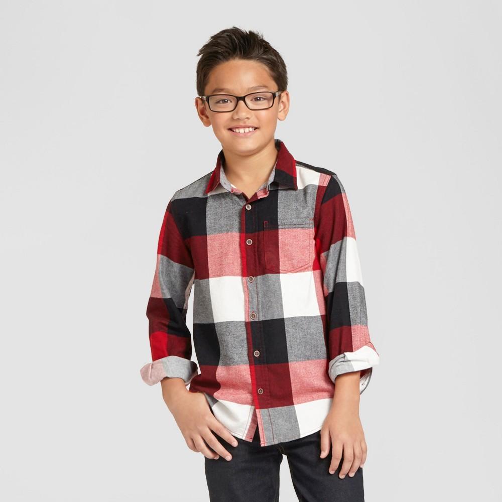 Boys Long Sleeve Button Down Flannel Shirt - Red Husky M - Cat & Jack, Size: M Husky