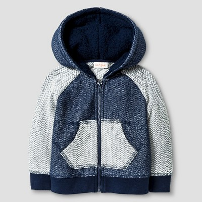 Baby Boys' Texture Hoodie with Sherpa Lining Cat & Jack™ - Night Blue 6-9 M
