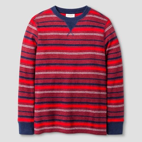 Boys' Long Sleeve Thermal Stripe T-Shirt Cat & Jack - Bing Cherry Red Xxl, Boy's