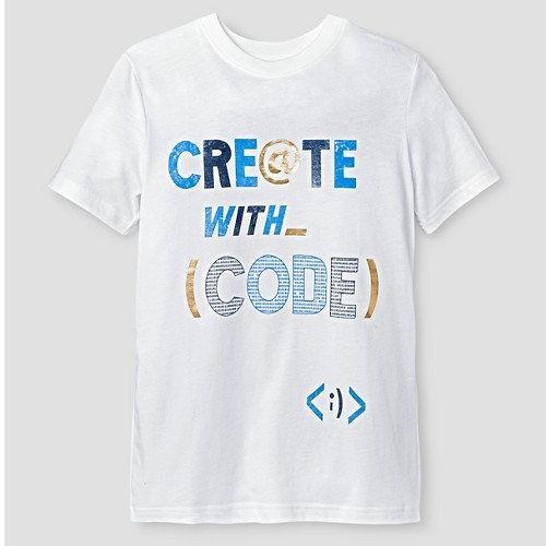 Boys' Short Sleeve Coding Graphic T-Shirt Cat & Jack - Campanula White Xxl, Boy's