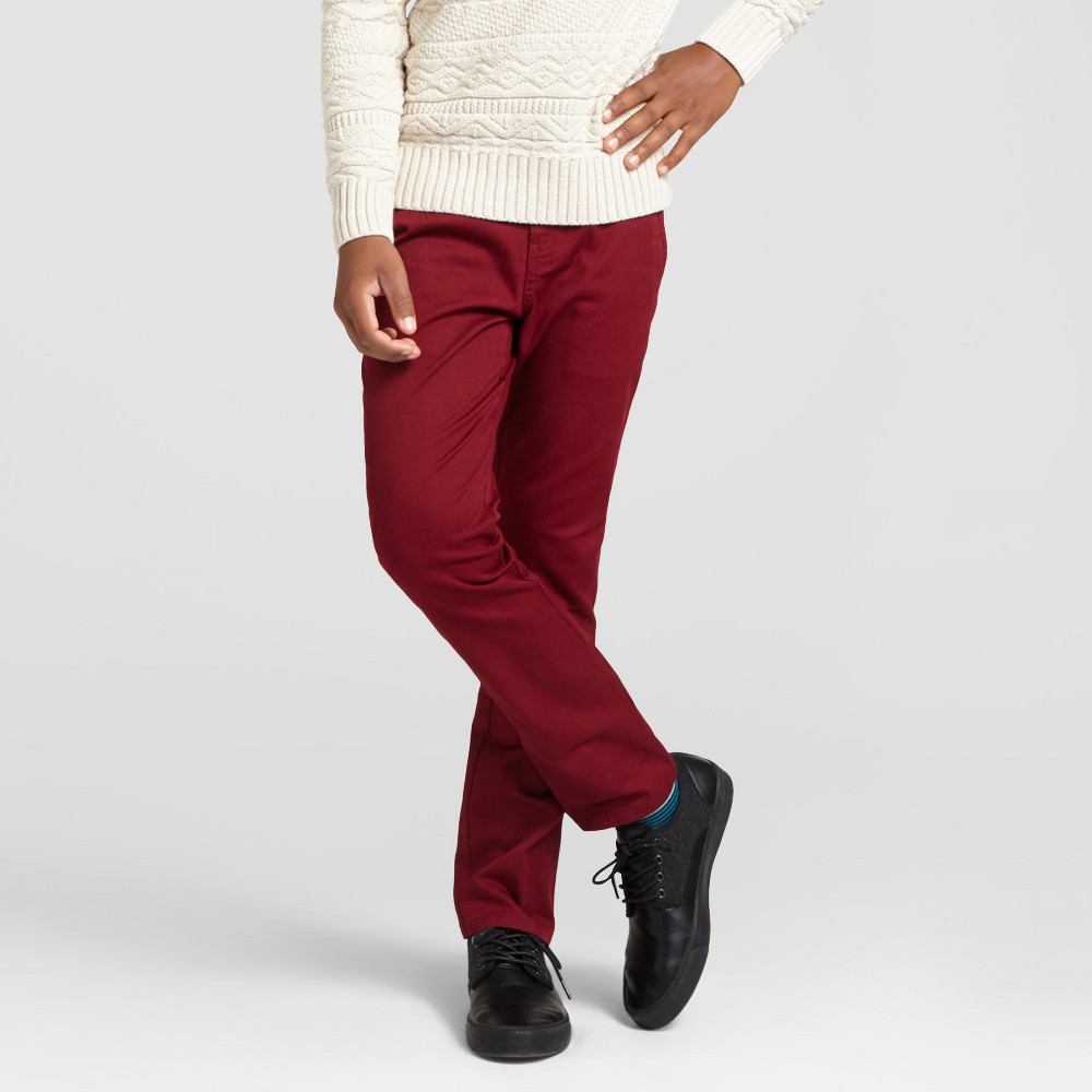 Boys Slim Fit Stretch Chino Pants - Cat & Jack Cherry 14 Husky, Bing Cherry