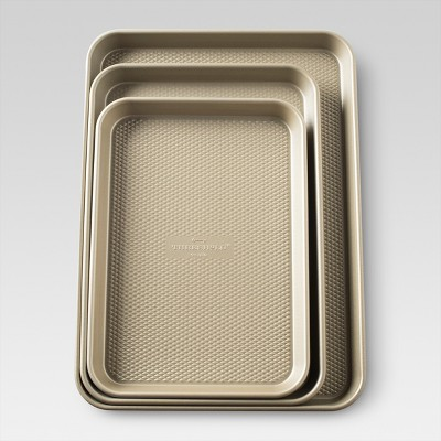 Set of 3 Cookie Sheet - Gold - Threshold™