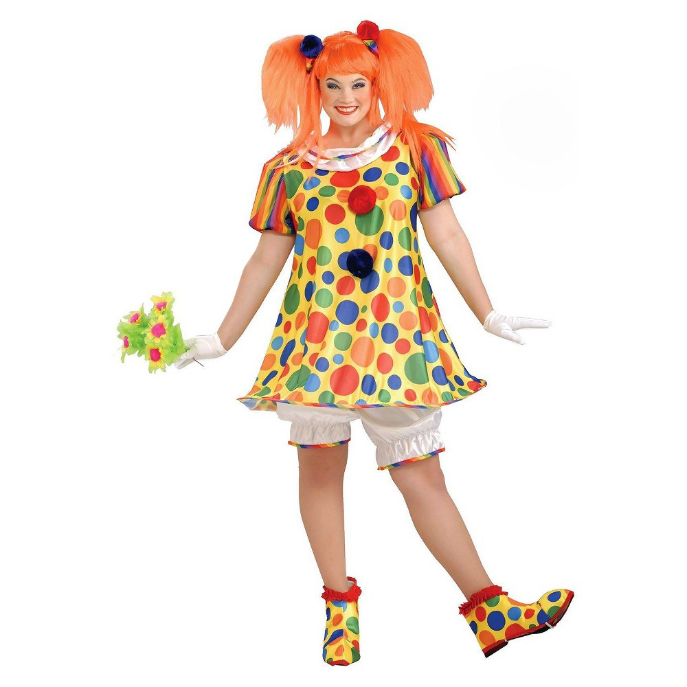 Womens Plus Size Giggles The Clown Costume Red 2X