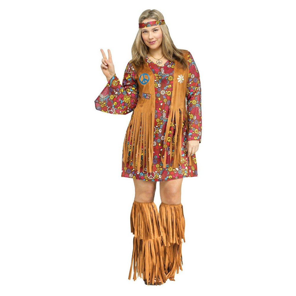 Women's Peace and Love Hippie Costume XL/Xxl, Brown